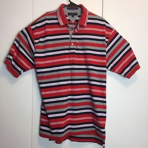 Tommy Hilfiger Mens Red Striped L Polo Golf Shirt